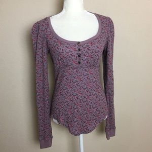 Betsey Johnson Purple Rose Thermal Henley Top
